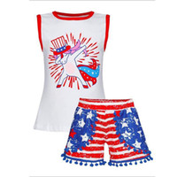 Wholesale toddlers girls clothes online - Fourth of July Baby Girls Sets Kids Cartoon Unicorn Printed Top Striped Tassel Shorts Outfits Independence Day Toddler Kids Clothing