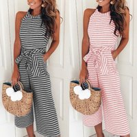 Wholesale wide leg jumpsuits for sale - Women Strap wide legs jumpsuits Stripe Bow Sashes Romper Club Wear colorful types soft female clothes Sleeveless clothing LJJQ279