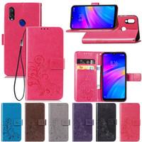 lila handgeldbeutel großhandel-Wallet Purse Case für Xiaomi Redmi7 PU Leder Four Clover mit Kartenhalter Handschlaufe Lila Farbe (Redmi 7)