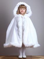 çocuklar ceketi ceketi toptan satış-Sıcak Kapşonlu Çocuk Beyaz Saten Cape Çiçek Kız Düğün Cloak Faux Fur Trim Çay-Uzunluk Kış Çocuklar Uzun sarar Ceket Noel Cadılar Bayramı