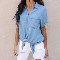 489477ab42 Wholesale ladies denim shirt online - 2018 Summer Top Women s Denim Blouse  With Pockets Vintage
