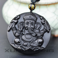ingrosso tronco dei monili-Drop Shipppping Elephant Necklace Pendant Ossidiana naturale intagliato Elephant God Elephant Trunk God Pendant Men Fashion Jewelry