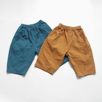 neue hosenart für babys großhandel-Herbst neue Unisex Kinder Cross-Hosen koreanischen Stil lose Baumwolle knöchellangen Hosen Baby Jungen Mädchen reine Farbe Hosen