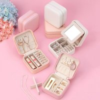 Wholesale jewelry display travel case resale online - Jewelry Organizer Box Display Travel Jewelry Case Boxes Portable Zipper Leather Storage Boxes Makeup Case OOA7491