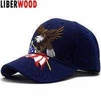 amerikan bayrağı snapback şapka toptan satış-LIBERWOOD Yurtsever Amerikan Kartal ve Amerikan Bayrağı Beyzbol Şapkası ABD Kel Kartal 3D Nakış Snapback Şapka Erkekler Kap