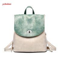 Wholesale vintage leather school satchel resale online - Panelle PU Leather Backpack Women Vintage Backpack Travel Satchel Casual Shoulder School Female Back Pack