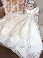 Wholesale baby girl bonnet flowers online - 2019 New Baby Christening Gowns Lace Applique Ivory Flower Girls Dress Toddler Long Baptism Dresses With Bonnet First Communication Dress