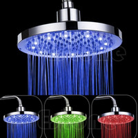 Wholesale round led shower resale online - 8 quot inch Round Rain Stainless Steel Bathroom RGB LED Light Shower Head