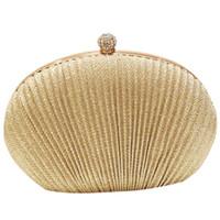 Colore Argento e Oro Luccicante Rotondo Acrilico Pietre Design Borsetta di alta qualità