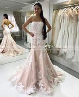 Wholesale laced fitted bride dresses resale online - Gorgeous Strapless Champagne Mermaid Wedding Dresses White Lace Appliques Bridal Gowns Custom Made Vestidos De Novia Fitted Bride Dress