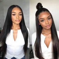 virgin lace wig venda por atacado-Perucas completas brasileiras do laço do cabelo humano do Virgin da peruca reta reta de seda do laço para a cor natural das mulheres