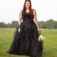 Wholesale lace front corset wedding dresses resale online - Garden Pleats Plus Size Black Wedding Dresses Gothic Ball Gown Tulle Tiered Bridal Vestidos Draped Lace up Corset Bride Dress