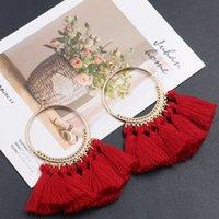 püskül küpe çember toptan satış-Sıcak Moda Takı Kadın Vintage Hoop Püsküller Dangle Küpe S226