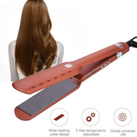 Wholesale hair curler temperature resale online - CkeyiN Titanium Alloy Straightening Irons Hair Curler Temperature Adjustable Flat Iron Straightener Wide Plate Hair Salon Tools