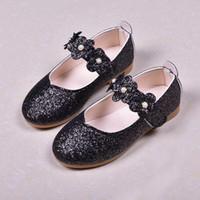 niños zapatos de princesa verde al por mayor-Zapatos casuales para niños Lentejuelas para niñas Fiesta de bodas de princesa Zapatos para niños Bebés y niños pequeños Lavanda negra Baile escolar verde