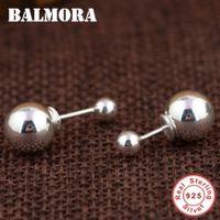 çift bileklik gümüş küpeler toptan satış-Saplama Küpe BALMORA Yüksek Kalite 100% 925 Ayar Gümüş Çift Top Zarif Saplama Küpe Kadınlar Lover için Moda Gümüş Takı SY31515