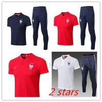 ingrosso corti blu stella-Pantalone tuta francese 2 stelle manica corta bianco blu polo maglia jersey equipaggiamento bianco Equipe de french kits tuta