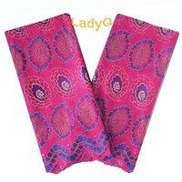 ingrosso tessuto africano di cotone rosa-LadyQ Fushia Pizzo in voile nigeriano rosa con pietre Tessuto di pizzo verde di alta qualità per spose Tessuto di pizzo africano rosa 100% cotone
