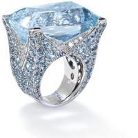 18kgp hochzeit bands großhandel-2019 heiße neue schmuck neue extra große blaue quadrat edelstein ring damen edlen schmuck braut verlobungshochzeitsring