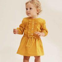 feste gelbe ballettröckchen groihandel-Herbst Kinder Kleid 2019 Neuankömmling Kleinkind Säugling Baby Mädchen Kleidung Langarm Kleid Kinder Tutu Casual Solid Yellow Kleider