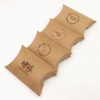 anel colar earing venda por atacado-Kraft caixa de travesseiro 8x5.5x2 cm Preto Jóias Pillow Paper Box / Embalagem de Presente / Anel / Brinco / Colar Caixas De Embalagem 50 Pçs / lote