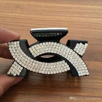 Wholesale brown hair clamp resale online - Women Rhinestone Letter C Hair Clip Bling Bling Rhinestone Claw Clamps Black Brown Fashion Hair Accessories