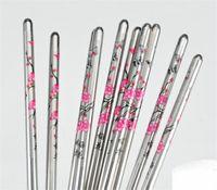 çiçekli çubuklar toptan satış-5 Çift / takım Paslanmaz Çelik Çin Çubuklarını 23 cm Metal Renk Erik Çiçek Desen Baskılı Chopstick Ev Kiti 3 35gs E1