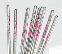 ingrosso set di chopstick cinese-5 paia / set bacchette cinesi in acciaio inossidabile 23cm metallo colore prugna modello di fiore stampato bacchette kit per la casa 3 35gs E1