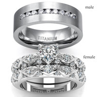 Wholesale heart cut wedding rings resale online - Couple Rings His and Hers Silver Heart Cut Diamond Women s Wedding Ring Men s Zircon Ring Bridal Wedding Jewelry