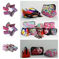 armazenamento para bolsas venda por atacado-Nova neoprene euramerican saco de armazenamento de flores saco de cosméticos rosa bolsa de beisebol moda zero bolsa xadrez sacos de pano T2D5024