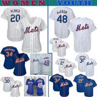 jerseygaard mayo toptan satış-NY Mets Kadın Gençlik Örme forması Pete Alonso Jacob DeGrom Nuh Syndergaard Michael Conforto Amed Rosario beyzbol Formalar Özel formaları
