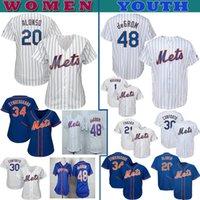 camisetas de béisbol auténticas de vuelta al por mayor-jerseys NY Mets para mujer de punto jersey de juventud Pete Alonso Jacob deGrom Noah Syndergaard Michael Conforto Amed Rosario béisbol jerseys personalizados
