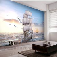 Wholesale high definition wall resale online - custom European high definition wallpaper d sailboat ocean sunrise landscape wall mural for TV sofa backdrop wall decoration