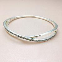 s logo diamante al por mayor-NUEVA moda de lujo CZ Diamond Logo de la pulsera para mujer Caja original para Pandora 925 Estrella de plata esterlina anillo del brazalete