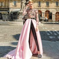 ingrosso abiti regency prom-Reggiseno Tute High Neck Prom Dresses With Cape Black Pants Satin 2019 Manica lunga da sera formale Abiti da festa Abito da spettacolo sudafricano
