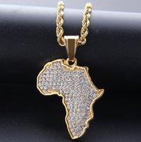 torres de aço inoxidável venda por atacado-Alta Qualidade Mapas africanos broca completa Colares do chapeamento de ouro Punk Set Auger Cristal Aço Inoxidável Colar Mens jóias mulheres presentes