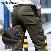 Wholesale army tactical gear for sale - Group buy ReFire Gear Warm Winter Cargo Pants Men Tactical Pants Straight Thick Fleece Cotton Army Trousers Male Casaul Clothing
