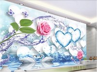 Wholesale wallpaper roses for sale - Group buy 3d wallpaper custom photo murals Fresh water splashing rose ice heart romantic D background wall decor wall art pictures
