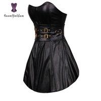 frauen gothic clubwear kleid großhandel-Schwarzer Gothic Punk Damen Torso Ohne Knochen Korsett Bustier Leder Clubwear Kleid Zip Back 9003 #