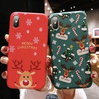 weihnachten santa telefon fall großhandel-Weihnachts-Telefon-Kasten nette Weihnachtsmann-Tier-Baum TPU schützende rückseitige Abdeckung Geschenk Stoßfest für iPhone X XS XR XS MAX OPP Beutel