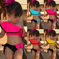 bikini mayo mayo toptan satış-Sfit Yaz Bebek Çocuk Kız Iki Parçalı Mayo Çocuk Mayo Ruffles Bow Su Sporları Bikini Omuz Plaj Yüzme Kostüm 2019