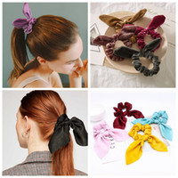 Wholesale hair tie band ears resale online - Bunny ear Elastic Hair Scrunchie Satin Ring Hair Ties hairbands Velvet rope Ponytail Holder Bunny Hairbow hair bands