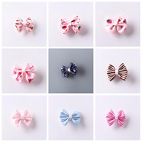 Wholesale cute little girl hair clip resale online - 9 styles Bow Striped Strawberry Cherry Cute Fashion Little Girl Hairpin Children Hair Clip Kids Accessories