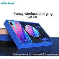 nillkin drahtloses ladegerät großhandel-Für iphone XS Max gehärtetes Glas Fall Nillkin Qi Wireless Charger + 3 in 1 Ladekabel für iPhoneX XR Fall Phantasie Geschenk Pack