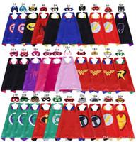 trajes para crianças venda por atacado-70 * 70 cm Double Side Superhero Capes e Máscaras para crianças Top Quality 30 Opções Crianças Dos Desenhos Animados Capes Cosplay Party Halloween Trajes