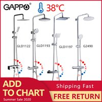 Wholesale chrome thermostatic rain shower set resale online - GAPPO thermostatic shower faucet chrome color bathroom bath shower mixer set waterfall rain shower head bathtub faucet taps T200612