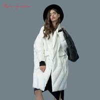 Wholesale types suits collar for sale - Group buy Winter New Listing Women Plus Size Long White Duck Down Jacket Cocoon Bat Type Suit Collar XL Thicken Parkas Big Pocket SH190913