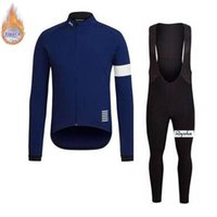 Wholesale cycling thermal trouser for sale - Group buy Rapha team custom made Men quick dry long sleeve bib trousers sports jersey sets Cycling Winter Thermal Fleece jersey bib pants sets