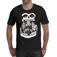 дизайн панк-майка оптовых-Мужчины дизайн печати Skull Ghost Misfits Punk черная футболка печать персонализированные круто подружить рубашки потрясающая футболка slim fit tr
