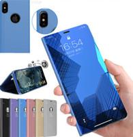 cubierta de espejo para iphone al por mayor-Soporte para teléfono Funda para iphone X XR XS max S8 S10 más funda de plantación Huawei Electroplate Claro Smart Kickstand Espejo Ver tapa plegable